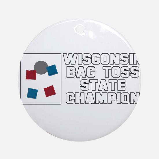Wisconsin Bag Toss State Cham Ornament (Round)