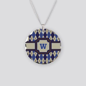 Blueberry Scone Argyle Necklace Circle Charm