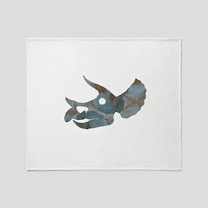 Triceratops Skull Throw Blanket