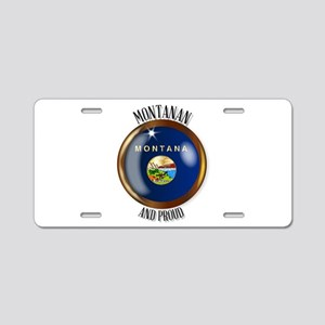 Montana Proud Flag Button Aluminum License Plate