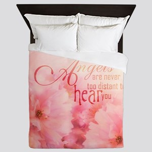 Pink Cherry Blossom for Angels Queen Duvet