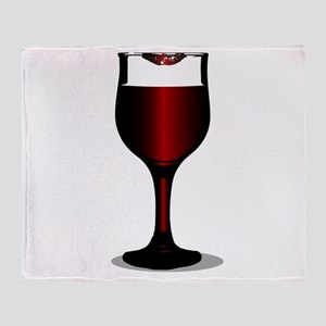 Lipstick Wine Glass Throw Blanket