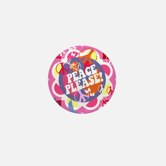 Pink Peace Please Art Mini Button