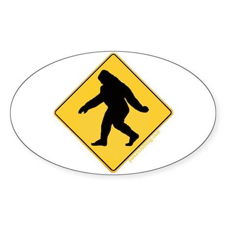 Big Foot Crossing Oval Sticker
