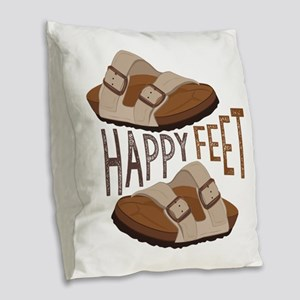 Happy Feet Burlap Throw Pillow