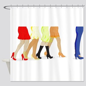 Womens Leg Dots Shower Curtain