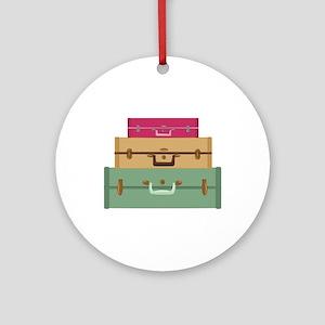 Suitcases Round Ornament