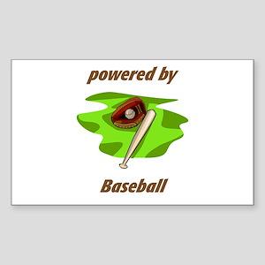 Powered By Baseball Sticker (Rectangle)