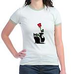 Black Cat and Rose Jr. Ringer T-Shirt