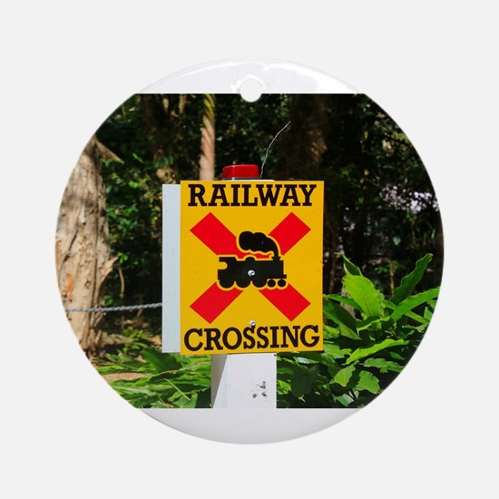 Railway crossing sign Round Ornament