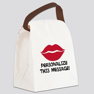 PERSONALIZED Red Lips Canvas Lunch Bag