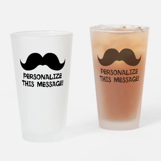 PERSONALIZED Cute Mustache Drinking Glass