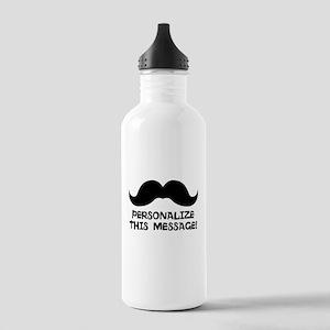 PERSONALIZED Cute Mustache Water Bottle