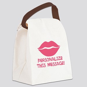 PERSONALIZED Pink Lips Canvas Lunch Bag