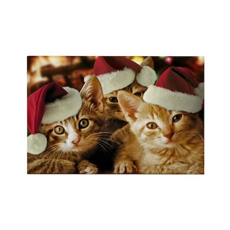 Christmas Kittens Rectangle Magnet