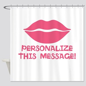 PERSONALIZED Pink Lips Shower Curtain