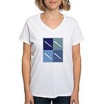 Writing (blue boxes) Women's V-Neck T-Shirt