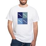 Writing (blue boxes) White T-Shirt
