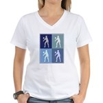 Womens Volleyball (blue boxes Women's V-Neck T-Shi