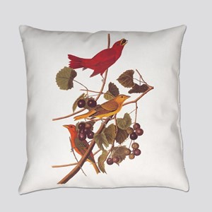 Summer Red Bird Vintage Audubon Everyday Pillow