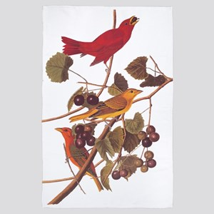 Summer Red Bird Vintage Audubon 4' x 6' Rug