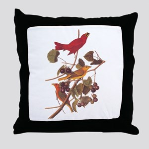 Summer Red Bird Vintage Audubon Throw Pillow
