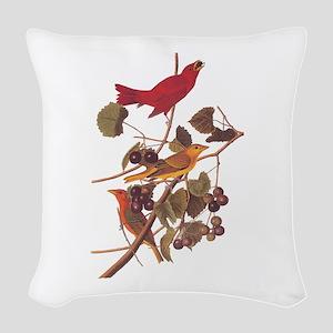 Summer Red Bird Vintage Audubon Woven Throw Pillow