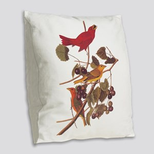 Summer Red Bird Vintage Audubon Burlap Throw Pillo