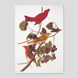 Summer Red Bird Vintage Audubon 5'x7'Area Rug