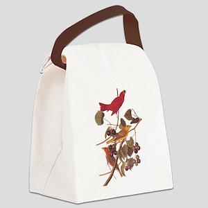 Summer Red Bird Vintage Audubon Canvas Lunch Bag