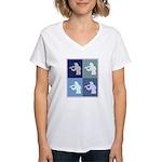 Violin (blue boxes) Women's V-Neck T-Shirt
