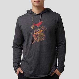 Summer Red Bird Vintage Audubon Long Sleeve T-Shir