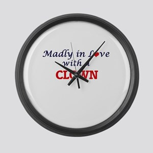 Madly in love with a Clown Large Wall Clock