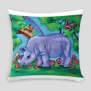 Purple Rhino and Rainbow Everyday Pillow