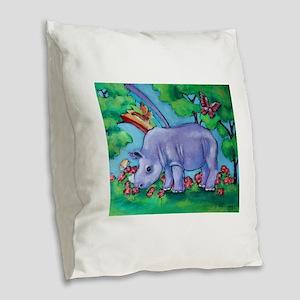 Purple Rhino and Rainbow Burlap Throw Pillow