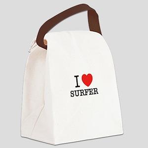 I Love SURFER Canvas Lunch Bag
