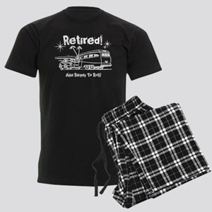 Retro Trailer Retired WHT Men's Dark Pajamas