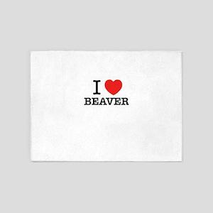 I Love BEAVER 5'x7'Area Rug