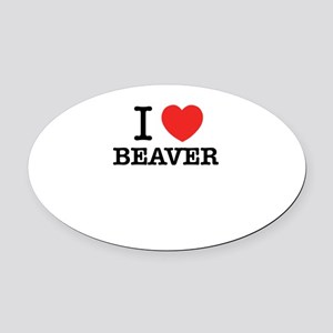 I Love BEAVER Oval Car Magnet