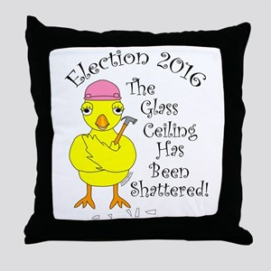 Glass Ceiling Chick Throw Pillow