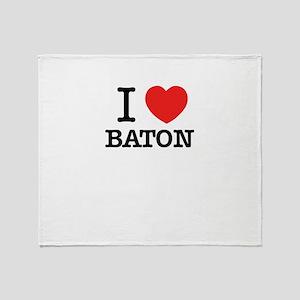 I Love BATON Throw Blanket