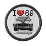 69 Mustang Large Wall Clock