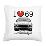 69 Mustang Square Canvas Pillow