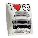 69 Mustang Burlap Throw Pillow