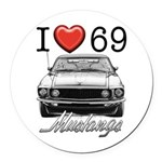 69 Mustang Round Car Magnet