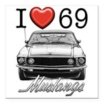 69 Mustang Square Car Magnet 3