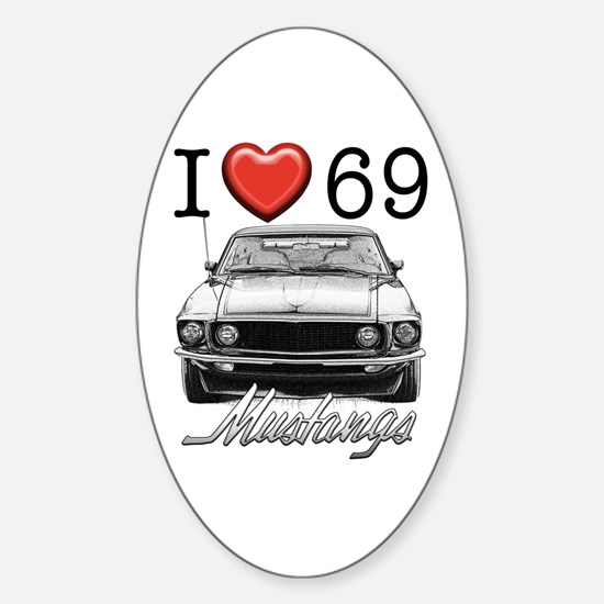 69 Mustang Sticker (Oval)