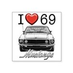 69 Mustang Square Sticker 3