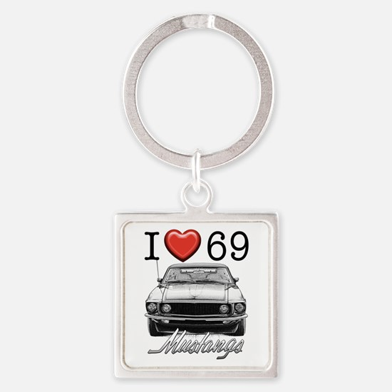69 Mustang Square Keychain