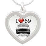 69 Mustang Silver Heart Necklace